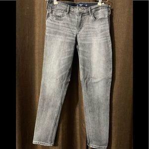 Grey wash Hollister Crop denim jeans size 9